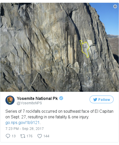 Twitter post by @YosemiteNPS: Series of 7 rockfalls occurred on southeast face of El Capitan on Sept. 27, resulting in one fatality & one injury  https //t.co/G0JRYWE3z0. pic.twitter.com/n1dXLVftWN