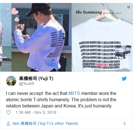 Twitter post by @YuJett: I can never accept  the act that #BTS member wore the atomic bomb T-shirts humanely. The problem is not the relation between Japan and Korea. It's just humanity.