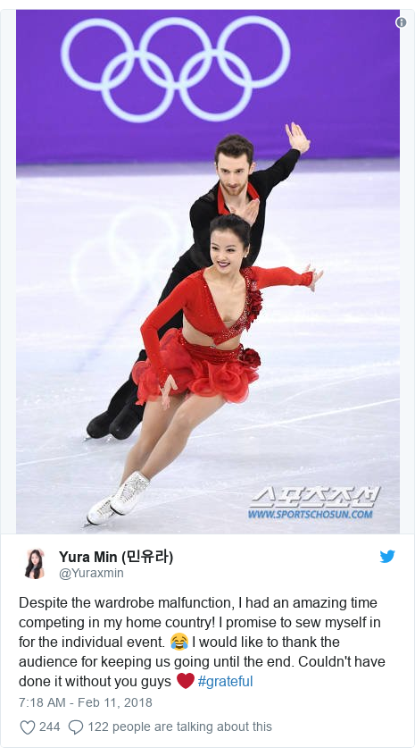 Twitter post by @Yuraxmin: Despite the wardrobe malfunction, I had an amazing time competing in my home country! I promise to sew myself in for the individual event. 😂 I would like to thank the audience for keeping us going until the end. Couldn't have done it without you guys ❤ #grateful