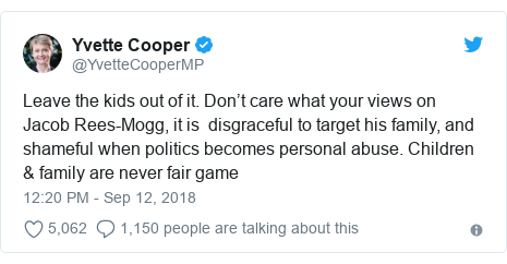 Twitter post by @YvetteCooperMP: Leave the kids out of it. Don't care what your views on Jacob Rees-Mogg, it is  disgraceful to target his family, and shameful when politics becomes personal abuse. Children & family are never fair game