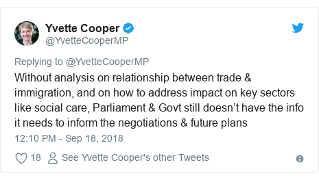Twitter post by @YvetteCooperMP: Without analysis on relationship between trade & immigration, and on how to address impact on key sectors like social care, Parliament & Govt still doesn't have the info it needs to inform the negotiations & future plans
