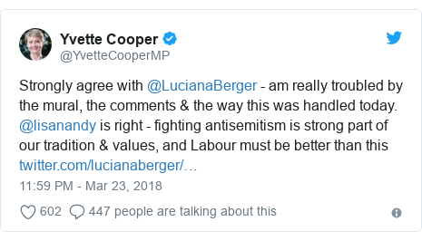Twitter post by @YvetteCooperMP: Strongly agree with @LucianaBerger - am really troubled by the mural, the comments & the way this was handled today. @lisanandy is right - fighting antisemitism is strong part of our tradition & values, and Labour must be better than this