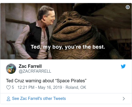 """Twitter post by @ZACRFARRELL: Ted Cruz warning about """"Space Pirates"""""""
