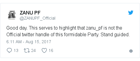 Twitter post by @ZANUPF_Official: Good day. This serves to highlight that zanu_pf is not the Official twitter handle of this formidable Party. Stand guided.