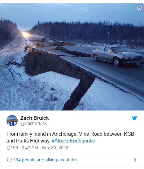 Twitter post by @ZachBruick: From family friend in Anchorage  Vine Road between KGB and Parks Highway. #AlaskaEarthquake