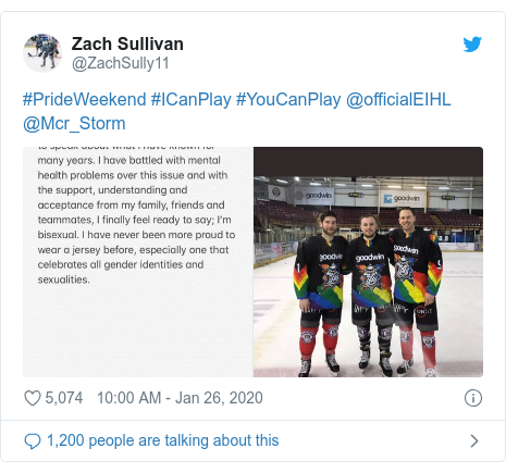 Twitter post by @ZachSully11: #PrideWeekend #ICanPlay #YouCanPlay @officialEIHL @Mcr_Storm