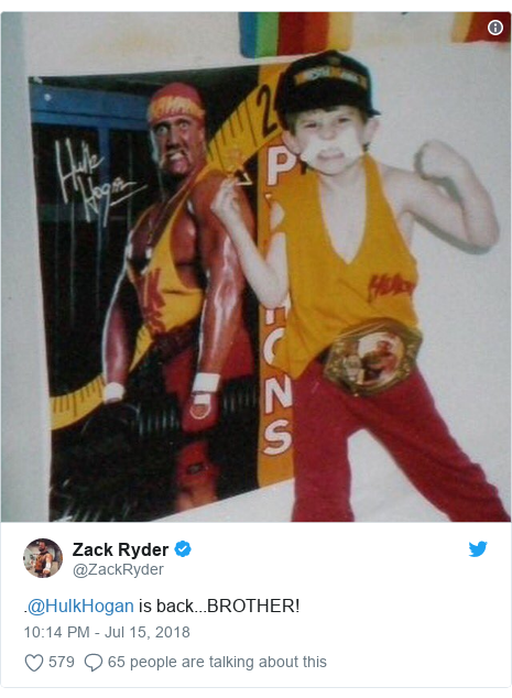 Twitter post by @ZackRyder: .@HulkHogan is back...BROTHER!