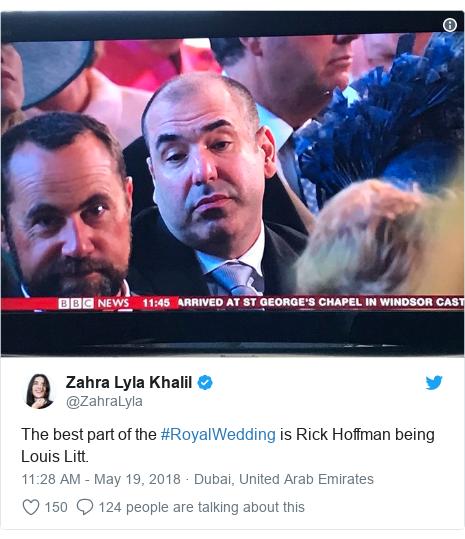Twitter post by @ZahraLyla: The best part of the #RoyalWedding is Rick Hoffman being Louis Litt.