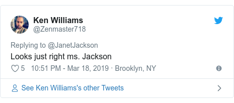 Twitter post by @Zenmaster718: Looks just right ms. Jackson