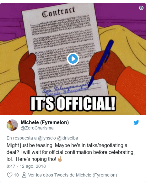 Publicación de Twitter por @ZeroCharisma: Might just be teasing. Maybe he's in talks/negotiating a deal? I will wait for official confirmation before celebrating, lol.  Here's hoping tho!🤞🏽
