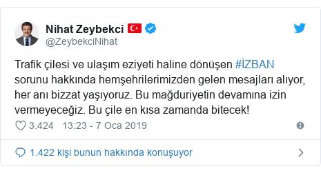 @ZeybekciNihat tarafından yapılan Twitter paylaşımı: Trafik çilesi ve ulaşım eziyeti haline dönüşen #İZBAN sorunu hakkında hemşehrilerimizden gelen mesajları alıyor, her anı bizzat yaşıyoruz. Bu mağduriyetin devamına izin vermeyeceğiz. Bu çile en kısa zamanda bitecek!