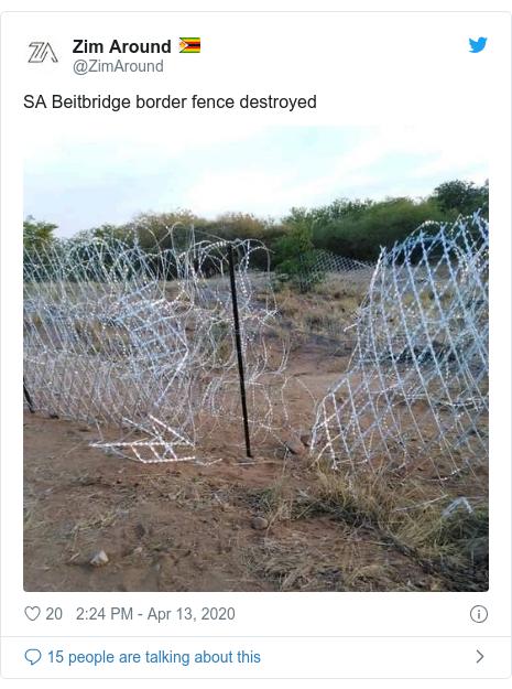 Twitter post by @ZimAround: SA Beitbridge border fence destroyed