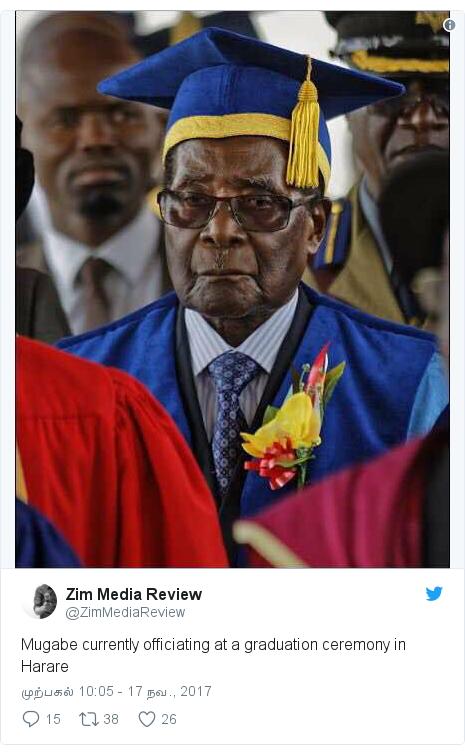 டுவிட்டர் இவரது பதிவு @ZimMediaReview: Mugabe currently officiating at a graduation ceremony in Harare