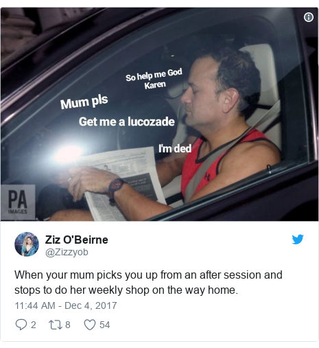 Twitter post by @Zizzyob: When your mum picks you up from an after session and stops to do her weekly shop on the way home.