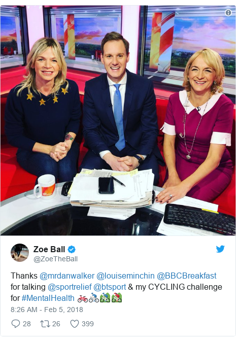 Twitter post by @ZoeTheBall: Thanks @mrdanwalker @louiseminchin @BBCBreakfast for talking @sportrelief @btsport & my CYCLING challenge for #MentalHealth 🚲🚴🏻‍♂️🚵🏻‍♂️🚵🏻‍♀️