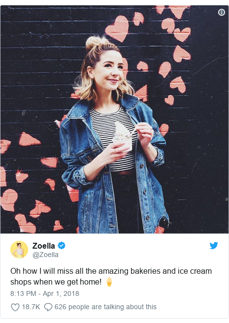 Twitter post by @Zoella: Oh how I will miss all the amazing bakeries and ice cream shops when we get home! 🍦