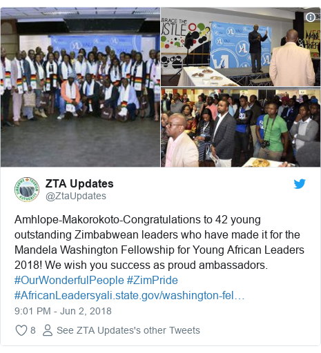 Twitter post by @ZtaUpdates: Amhlope-Makorokoto-Congratulations to 42 young outstanding Zimbabwean leaders who have made it for the Mandela Washington Fellowship for Young African Leaders 2018! We wish you success as proud ambassadors. #OurWonderfulPeople #ZimPride #AfricanLeaders