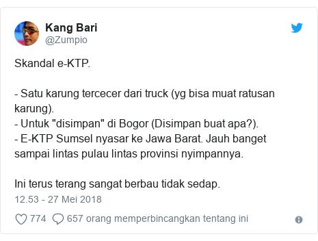 """Twitter pesan oleh @Zumpio: Skandal e-KTP. - Satu karung tercecer dari truck (yg bisa muat ratusan karung). - Untuk """"disimpan"""" di Bogor (Disimpan buat apa?).- E-KTP Sumsel nyasar ke Jawa Barat. Jauh banget sampai lintas pulau lintas provinsi nyimpannya.Ini terus terang sangat berbau tidak sedap."""