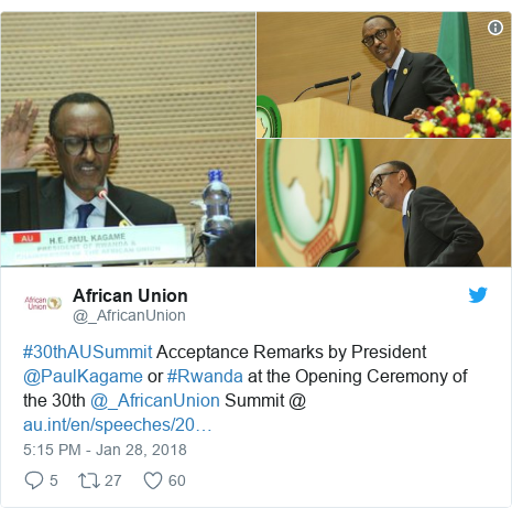 Twitter post by @_AfricanUnion: #30thAUSummit Acceptance Remarks by President @PaulKagame or #Rwanda at the Opening Ceremony of the 30th @_AfricanUnion Summit @