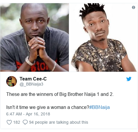 Twitter post by @_BBNaija3: These are the winners of Big Brother Naija 1 and 2.Isn't it time we give a woman a chance?#BBNaija