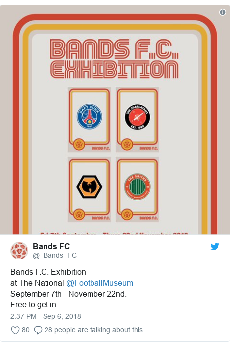 Twitter post by @_Bands_FC: Bands F.C. Exhibitionat The National @FootballMuseum September 7th - November 22nd. Free to get in