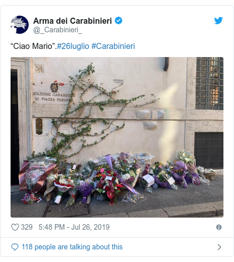 """Twitter post by @_Carabinieri_: """"Ciao Mario"""".#26luglio #Carabinieri"""