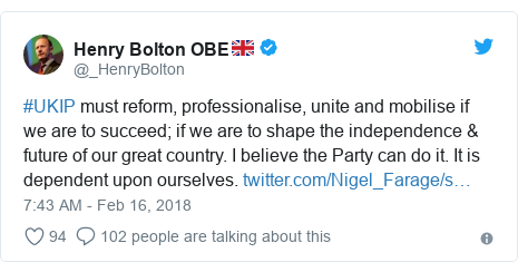 Twitter post by @_HenryBolton: #UKIP must reform, professionalise, unite and mobilise if we are to succeed; if we are to shape the independence & future of our great country. I believe the Party can do it. It is dependent upon ourselves.