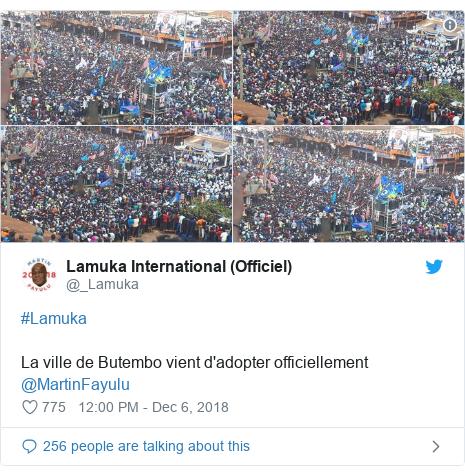 Twitter post by @_Lamuka: #LamukaLa ville de Butembo vient d'adopter officiellement @MartinFayulu