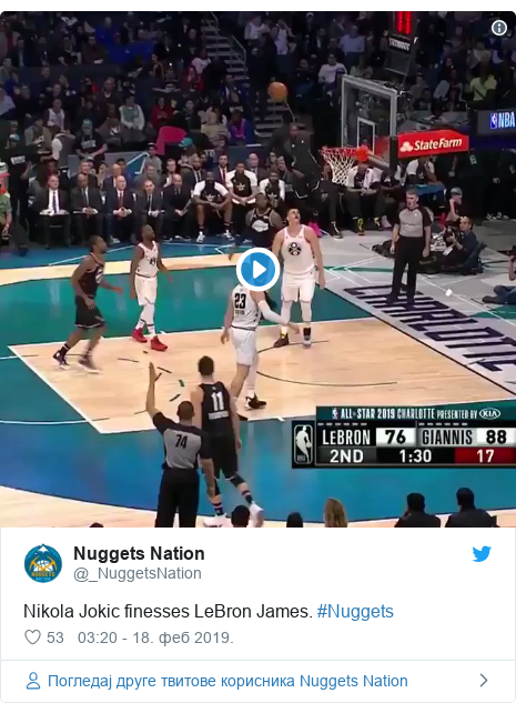 Twitter post by @_NuggetsNation: Nikola Jokic finesses LeBron James. #Nuggets
