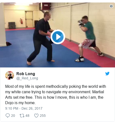 Twitter post by @_Red_Long: Most of my life is spent methodically poking the world with my white cane trying to navigate my environment. Martial Arts set me free. This is how I move, this is who I am, the Dojo is my home.