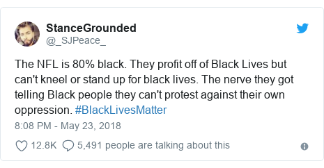 Twitter post by @_SJPeace_: The NFL is 80% black. They profit off of Black Lives but can't kneel or stand up for black lives. The nerve they got telling Black people they can't protest against their own oppression. #BlackLivesMatter