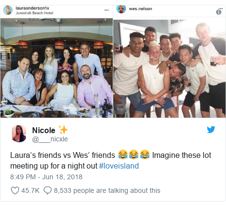 Twitter post by @___nicxle: Laura's friends vs Wes' friends 😂😂😂 Imagine these lot meeting up for a night out #loveisland