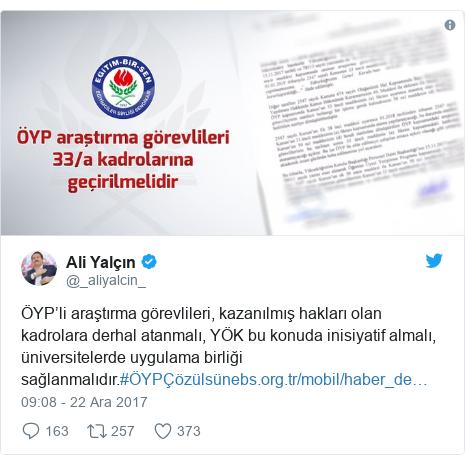 @_aliyalcin_ tarafından yapılan Twitter paylaşımı: ÖYP'li araştırma görevlileri, kazanılmış hakları olan kadrolara derhal atanmalı, YÖK bu konuda inisiyatif almalı, üniversitelerde uygulama birliği sağlanmalıdır.#ÖYPÇözülsün