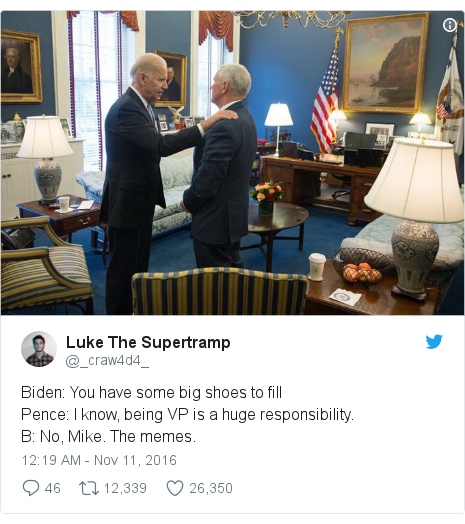 Twitter post by @_craw4d4_: Biden  You have some big shoes to fillPence  I know, being VP is a huge responsibility.B  No, Mike. The memes.