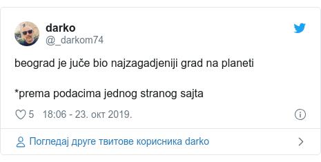 Twitter post by @_darkom74: beograd je juče bio najzagadjeniji grad na planeti*prema podacima jednog stranog sajta