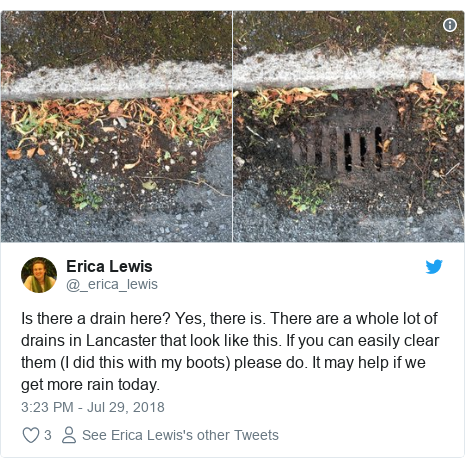 Twitter post by @_erica_lewis: Is there a drain here? Yes, there is. There are a whole lot of drains in Lancaster that look like this. If you can easily clear them (I did this with my boots) please do. It may help if we get more rain today.