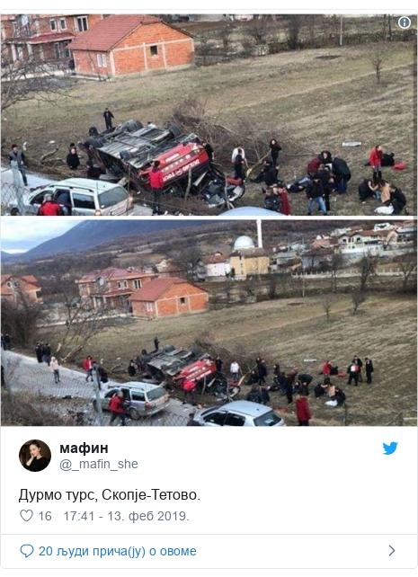 Twitter post by @_mafin_she: Дурмо турс, Скопје-Тетово.