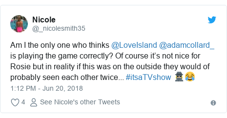 Twitter post by @_nicolesmith35: Am I the only one who thinks @LoveIsland @adamcollard_ is playing the game correctly? Of course it's not nice for Rosie but in reality if this was on the outside they would of probably seen each other twice... #itsaTVshow 🕵🏼♀️😂