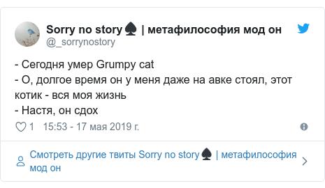Twitter пост, автор: @_sorrynostory: - Сегодня умер Grumpy cat- О, долгое время он у меня даже на авке стоял, этот котик - вся моя жизнь - Настя, он сдох