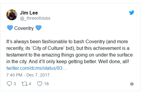 Twitter post by @_threeofclubs: 💙 Coventry 💙It's always been fashionable to bash Coventry (and more recently, its 'City of Culture' bid), but this achievement is a testament to the amazing things going on under the surface in the city. And it'll only keep getting better. Well done, all!
