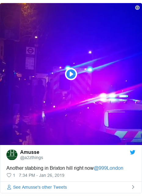 Twitter post by @a2zthings: Another stabbing in Brixton hill right now@999London