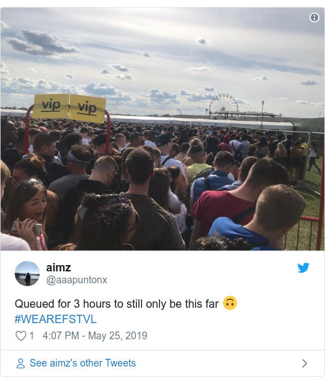 Twitter post by @aaapuntonx: Queued for 3 hours to still only be this far 🙃 #WEAREFSTVL