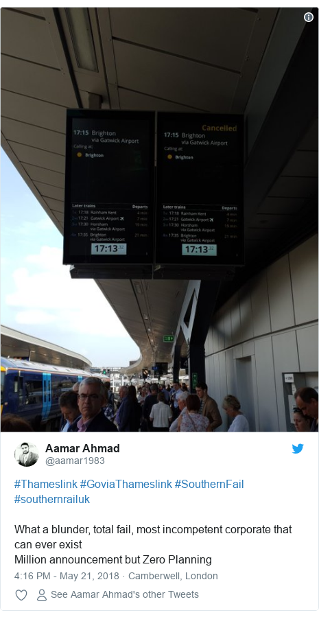 Twitter post by @aamar1983: #Thameslink #GoviaThameslink #SouthernFail #southernrailuk What a blunder, total fail, most incompetent corporate that can ever exist Million announcement but Zero Planning