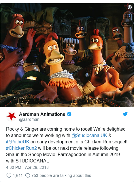 Twitter post by @aardman: Rocky & Ginger are coming home to roost! We're delighted to announce we're working with @StudiocanalUK & @PatheUK on early development of a Chicken Run sequel! #ChickenRun2 will be our next movie release following Shaun the Sheep Movie  Farmageddon in Autumn 2019 with STUDIOCANAL