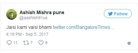 Twitter post by @aashish81us: Jaisi karni vaisi bharni https //t.co/SXNewq0Tz1