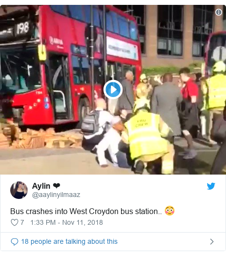 Twitter post by @aaylinyilmaaz: Bus crashes into West Croydon bus station.. 😳