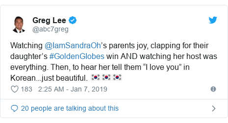 """Twitter post by @abc7greg: Watching @IamSandraOh's parents joy, clapping for their daughter's #GoldenGIobes win AND watching her host was everything. Then, to hear her tell them """"I love you"""" in Korean...just beautiful. 🇰🇷🇰🇷🇰🇷"""
