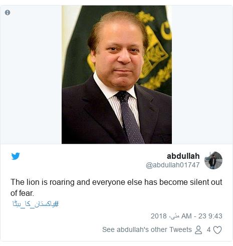 ٹوئٹر پوسٹس @abdullah01747 کے حساب سے: The lion is roaring and everyone else has become silent out of fear. #پاکستان_کا_بیٹا