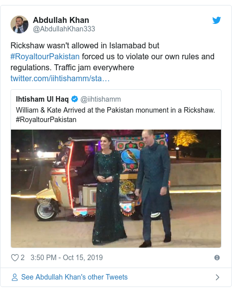 Twitter post by @AbdullahKhan333: Rickshaw wasn't allowed in Islamabad but #RoyaltourPakistan forced us to violate our own rules and regulations. Traffic jam everywhere