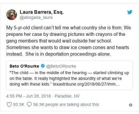 Twitter post by @abogada_laura: My 5-yr-old client can't tell me what country she is from. We prepare her case by drawing pictures with crayons of the gang members that would wait outside her school.  Sometimes she wants to draw ice cream cones and hearts instead.  She is in deportation proceedings alone.